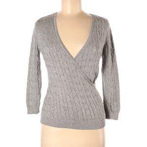 ANN TAYLOR XS Silver Wrap Silk Sweater Metallic